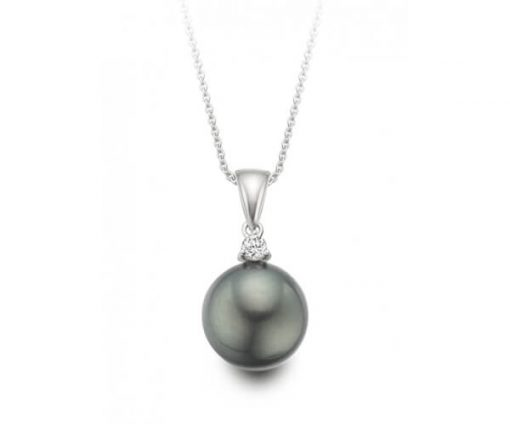 Tahitian Black Pearl Pendant with 18K White Gold - Germani Jewellery