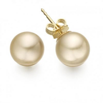 Golden South Sea Pearl Stud Earrings with 18K Yellow Gold - Germani Jewellery