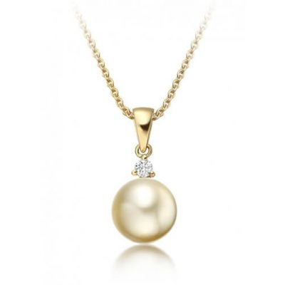 Golden South Sea Pearl and Round diamond pendant with 18K Gold chain - Germani Jewellery