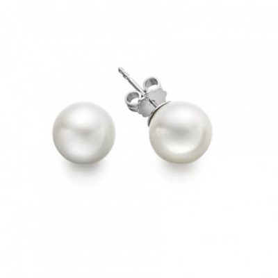 White South Sea Pearl Stud Earrings with 18K White Gold - Germani Jewellery