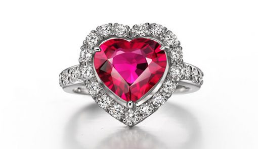 Halo Heart Natural Ruby Ring - Germani Jewellery