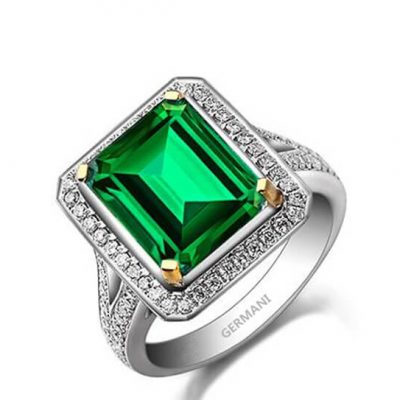 Natural Emerald Halo Split Band Ring - Germani Jewellery