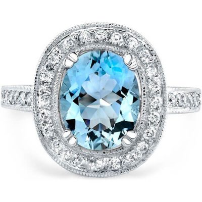 Halo Natural Aquamarine Ring - Germani Jewellery