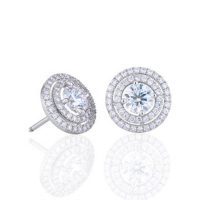Diamond Studs Earrings -Classic Double Halo Design - Germani Jewellery