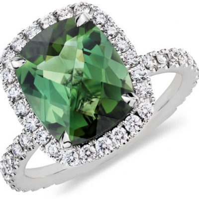 Halo Cushion Natural Green Tourmaline Ring - Germani Jewellery