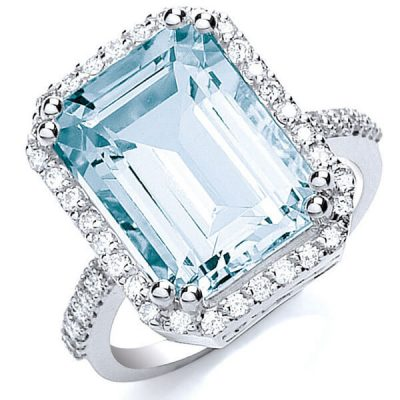 Halo Emerald Cut Natural Aquamarine Ring - Germani Jewellery