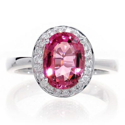 Halo Oval Shape Natural Pink Tourmaline Ring - Germani Jewellery