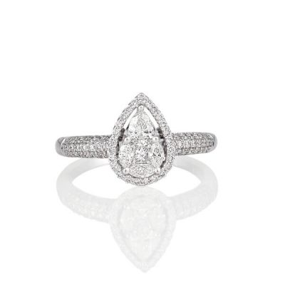Michel Germani's halo design pear shape diamond engagement ring - Germani Jewellery