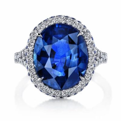 Halo Split Band Natural Blue Sapphire Ring - Germani Jewellery