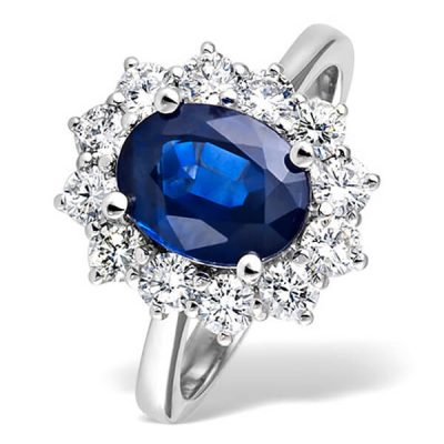 Princess Diana Style Natural Blue Sapphire Diamond Ring - Germani Jewellery