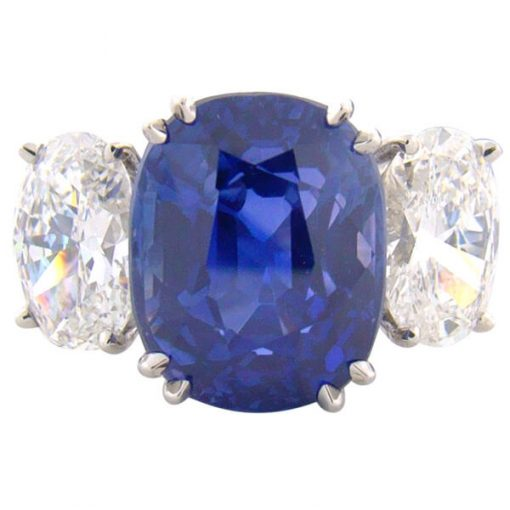 Classic Three Stone Design Natural Blue Sapphire Ring - Germani Jewellery