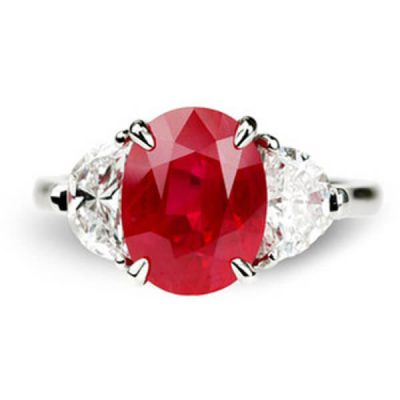 Classic Three Stone Design Natural Ruby Ring - Germani Jewellery