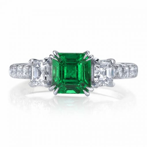 Three Stone Natural Emerald Ring - Germani Jewellery