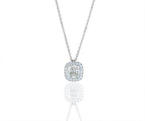 Cushion Cut Halo Design Diamond Pendant - Germani Jewellery