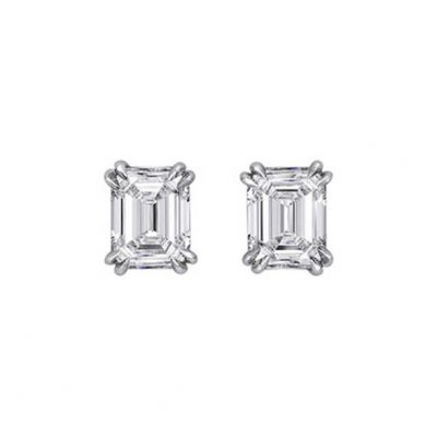 Emerald Cut Diamond Stud Earrings - Germani Jewellery