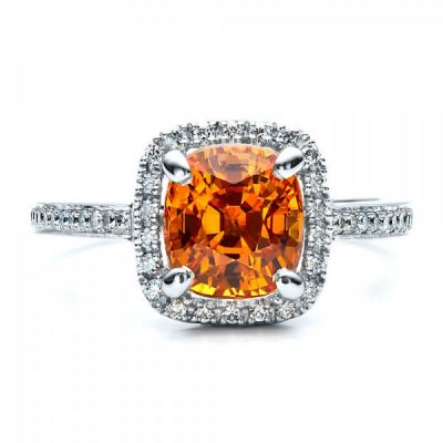 Halo Cushion Natural Orange Sapphire Ring - Germani Jewellery