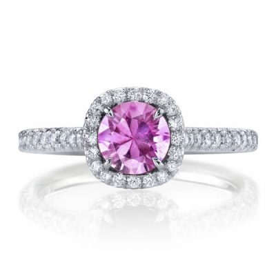 Halo Design Natural Pink Sapphire Diamond Ring -Germani Jewellery