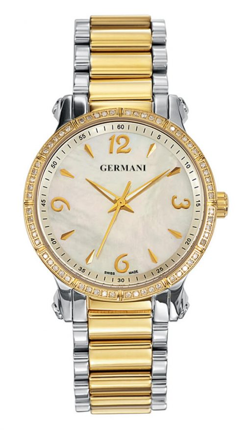 Yellow Gold plated diamonds ladies watch - Germani Jewellery