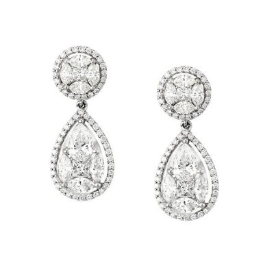 Marquise and Princess Cut Diamonds Drop Earrings - Germani Jewellery