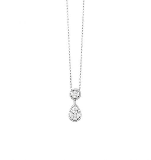 Marquise and Princess Cut Diamonds Drop Pendant - Germani Jewellery
