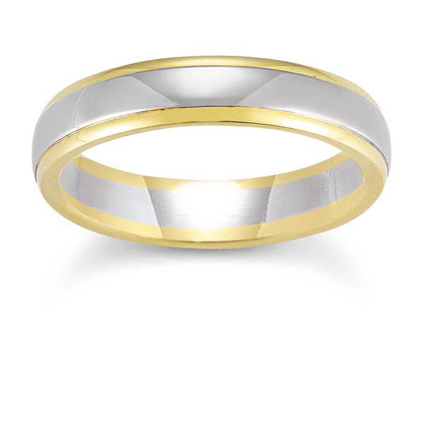 Mens Wedding Band In 18K Yellow And White Gold