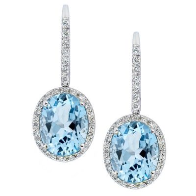 Blue Topaz with Diamonds Drop Earrings - Germani Jewellery