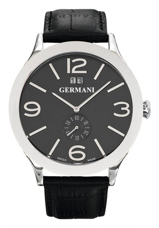 Black Face Genuine Leather Men's watches - Germani Jewellery
