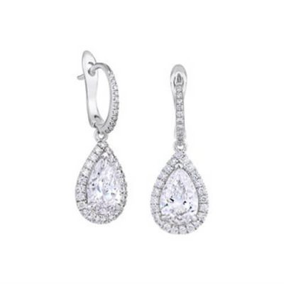 Pear Shape Halo Design Diamond Drop Earrings - Germani Jewellery