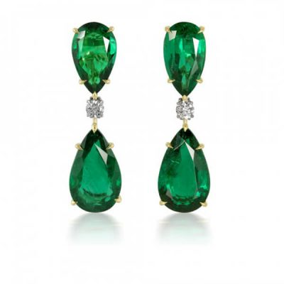 Pear Shape Emerald Earrings - Germani Jewellery