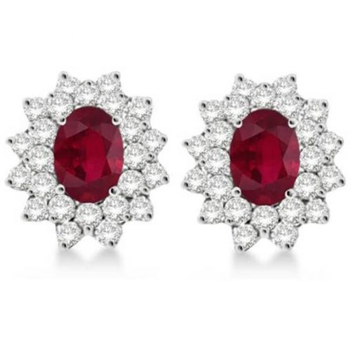 Princess Diana Style Ruby Stud Earrings with 18K white gold and diamonds - Germani Jewellery