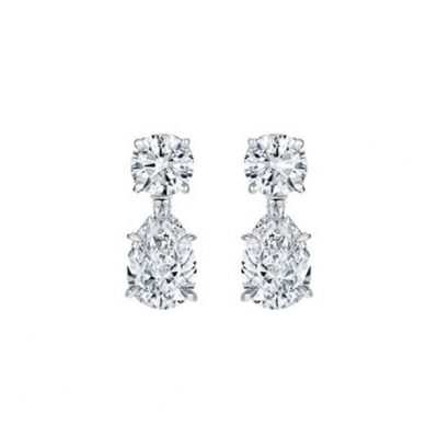 Pear shape diamonds drop earrings - Germani Jewellery