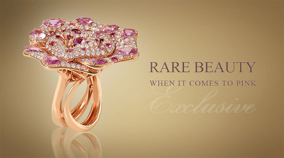 Pink Diamond Flower Custom Ring - Germani Jewellery
