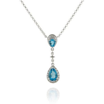 Teardrop Natural Blue Topaz Necklace - Germani Jewellery