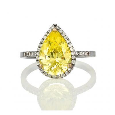 Yellow Sapphire Pear Engagement Ring - Germani Jewellery