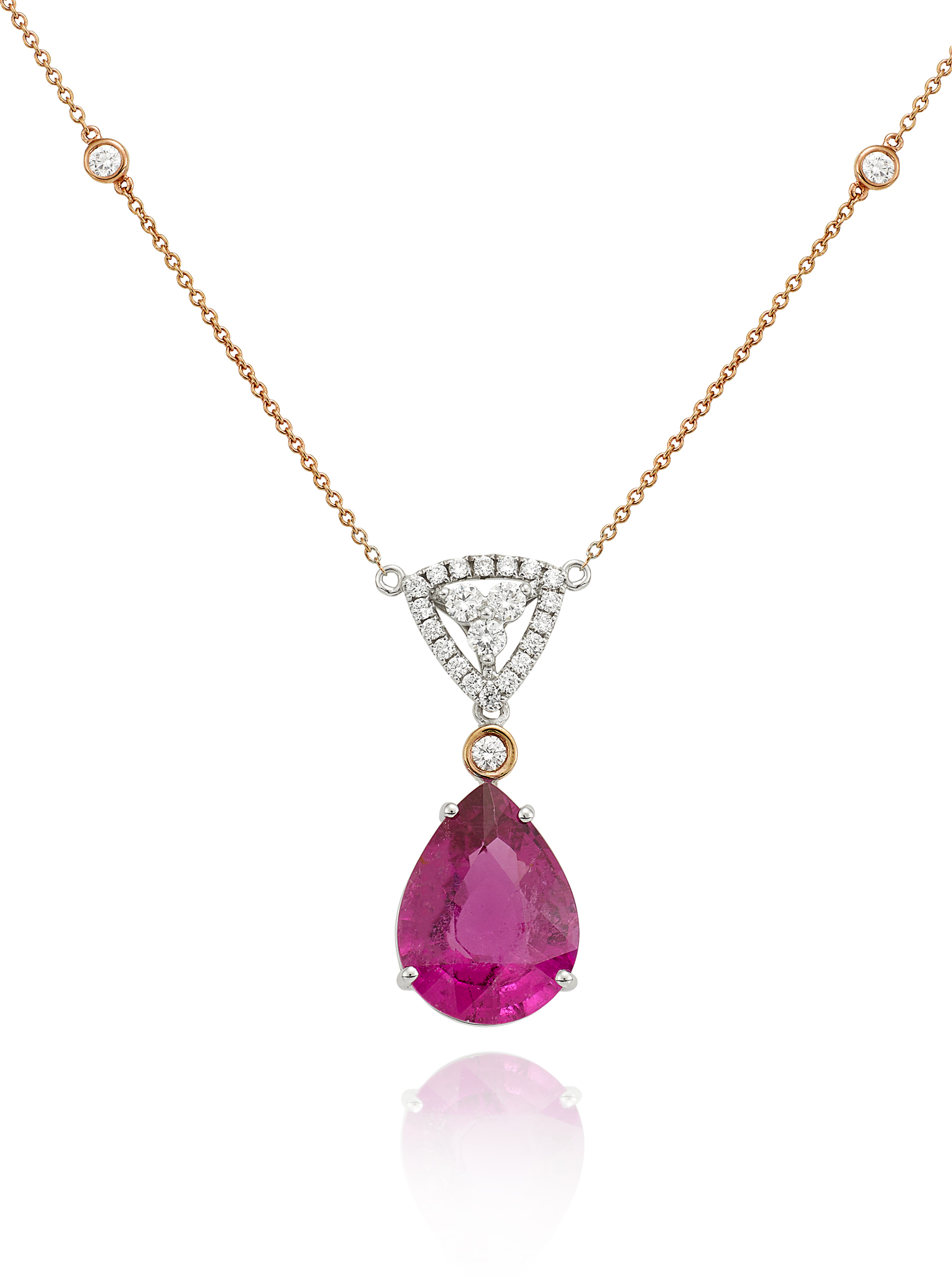 white pink diamonds oval gold tw with in pendant necklace tourmaline maine