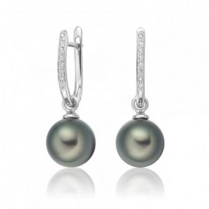 Black Tahitian Pearl Earrings with 18K white gold and diamonds - Germani Jewellery