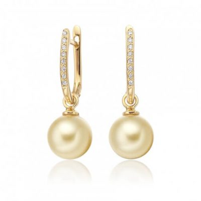 Golden pearl earrings with 18K Yellow Gold and Diamonds - Germani Jewellery