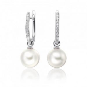 White South Sea Pearl Earrings with 18K White Gold - Germani Jewellery