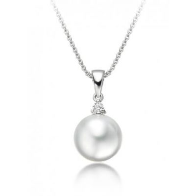 White South Sea Pearl and Diamond Pendant with 18K White Gold Chain - Germani Jewellery