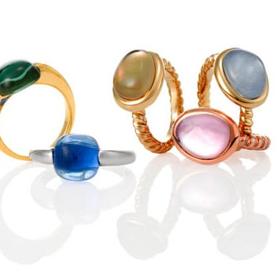 18K Gold Ring with Color Stones - Germani Jewellery