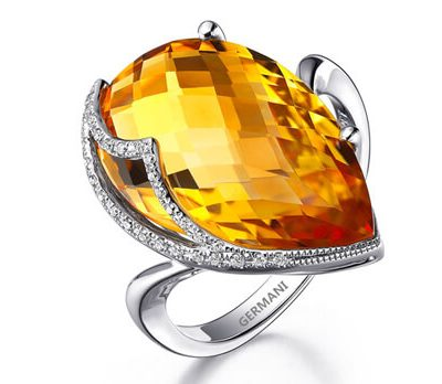 Teardrop Citrine Diamond Ring - Germani Jewellery