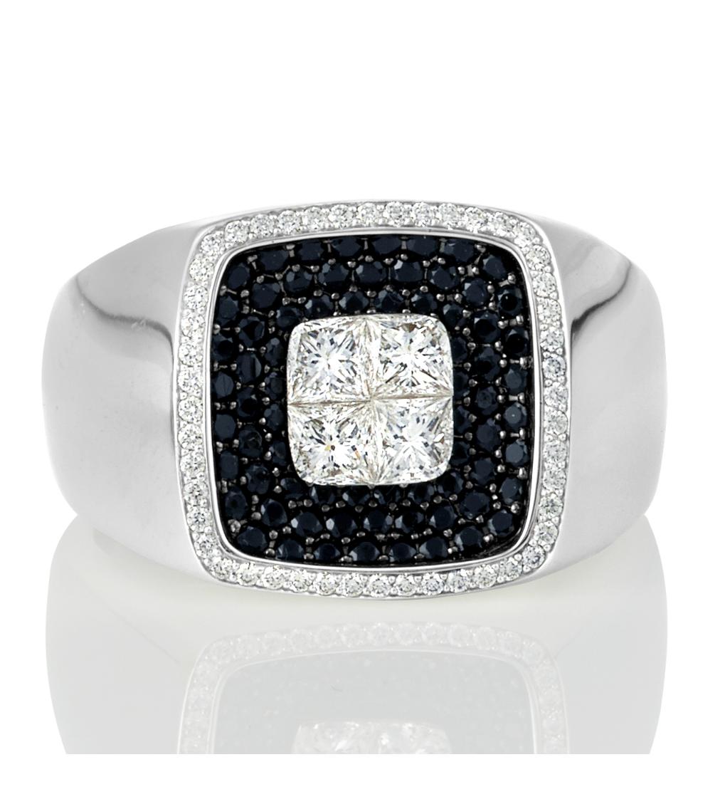 Black Diamond Men's Ring, black diamond ring, mens ring, black diamond mens ring, germani, white diamond ring, princess cut diamond mens ring, white diamond, princess diamond mens ring - Germani Jewellery