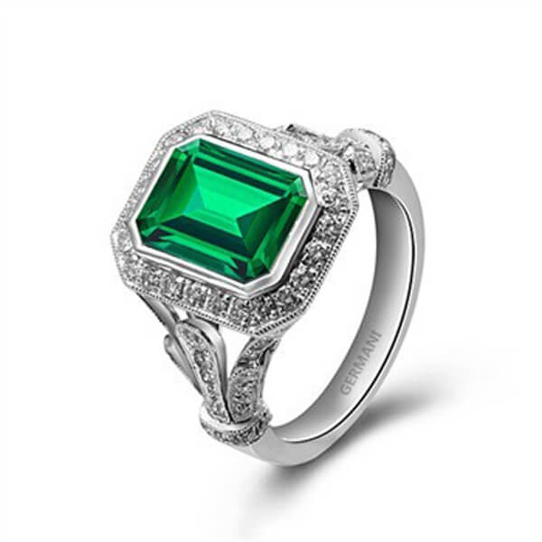 Natural Emerald Diamond Ring - Germani Jewellery