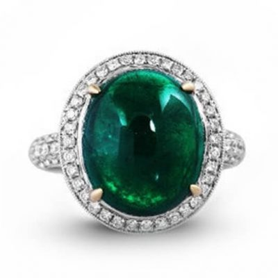 Cabochon Natural Emerald Diamond Ring - Germani Jewellery