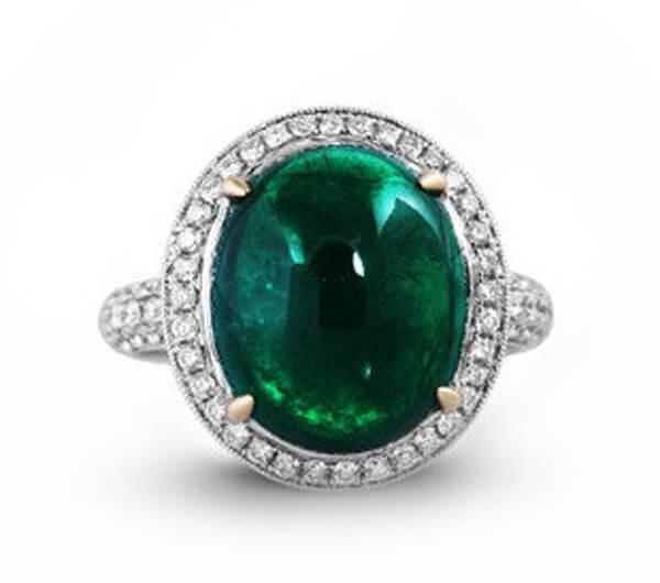 Cabochon Natural Emerald Diamond Ring - Germani Jewellery