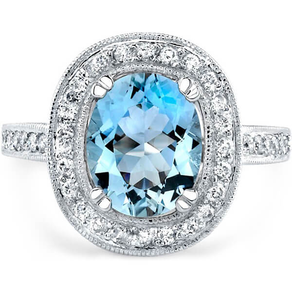 Halo Natural Aquamarine Ring - Germani Jewellery