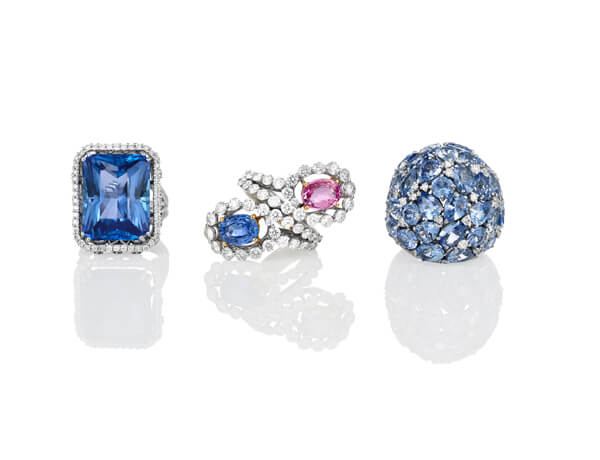 Bleu Ciel Blue and Pink Sapphire Diamond Dress Rings
