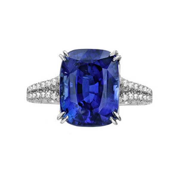 Split Band Cushion Natural Blue Sapphire Ring - Germani Jewellery