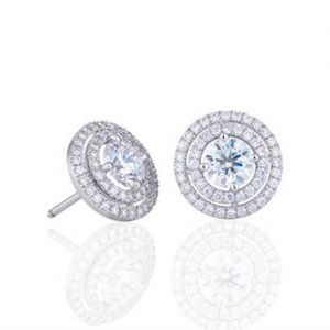 Diamond Studs Earrings -Classic Double Halo Design - Germani Jewellery