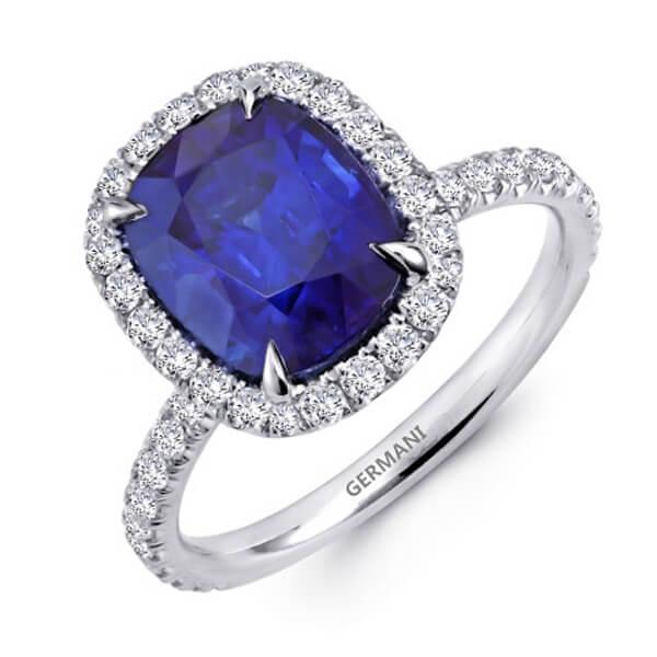 Classic Halo Cushion Cut Natural Blue Sapphire Ring - Germani Jewellery